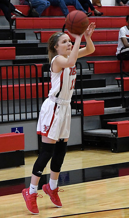 NOC Enid's Kaylee Hurst shoots a three point shot against Mid American Monday January 7, 2019 at the NOC Mabee Center. (Billy Hefton / Enid News & Eagle)