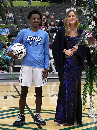 Enid High School's basketball homecoming king and queen, Carlos Menefield and Cayti Moeller Friday January 18, 2019 at the Central National Bank Center. (Billy Hefton / Enid News & Eagle)