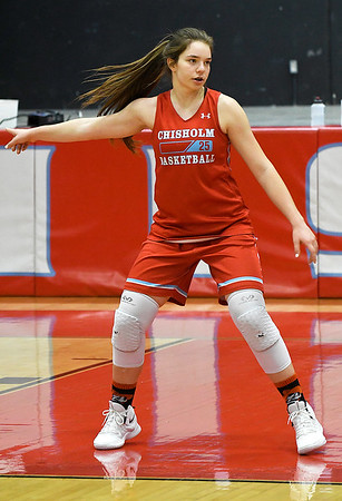 Chisholm's Jessica Corey directs the defense during practice Wednesday January 9, 2019 at Chisholm High School. (Billy Hefton / Enid News & Eagle)