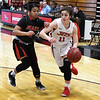 NOC Enid's Lexi Large drives pass Mid American's Jennah Coffman Monday January 7, 2019 at the NOC Mabee Center. (Billy Hefton / Enid News & Eagle)