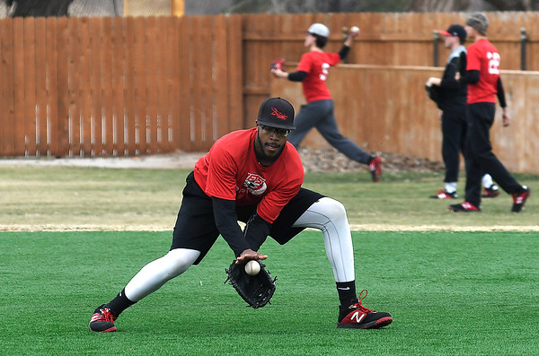 NOC Enid's E.J. Taylor field a ball during practice at Failing Field Thursday January 31, 2019. (Billy Hefton / Enid News & Eagle)