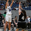 Lomega's Emma Duffy shoots over Timberlake's Caitlyn Fargo during a semi-final game of the Cherokee Strip Conference Tournament Friday January 25, 2019 at the Chisholm Trail Expo Center. (Billy Hefton / Enid News & Eagle)
