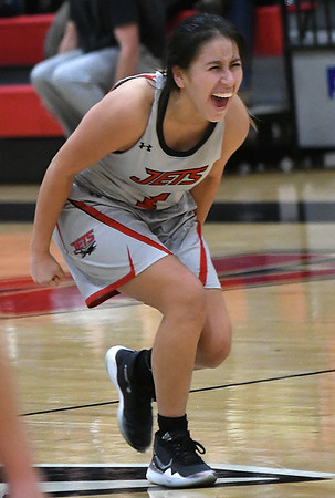 NOC Enid's Shelby Black reacts to making the go ahead basket in the Jets win over Connors State Thursday, January 16, 2020 at the NOC Mabee Center. (Billy Hefton / Enid News & Eagle)