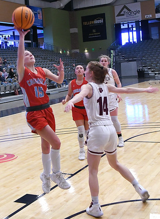 Chisholm's Regi Pasby shoots over Cashion's Neely Tilly-Bedick during the Downtown Basketball Festival Friday, January 31, 2020 at the Stride Bank Center. (Billy Hefton / Enid News & Eagle)