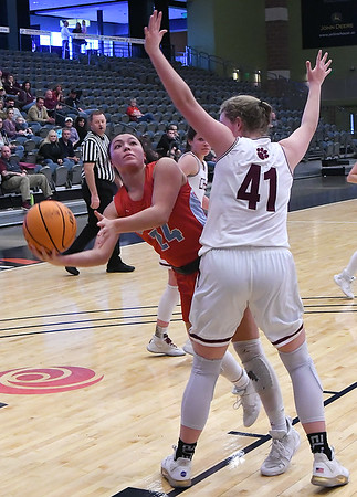 Chisholm's Tatum Long shoots around Cashion's Brook Shelly during the Downtown Basketball Festival Friday, January 31, 2020 at the Stride Bank Center. (Billy Hefton / Enid News & Eagle)
