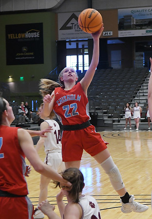 Chisholm's Alice Watkins puts up a shot against Cashion during the Downtown Basketball Festival Friday, January 31, 2020 at the Stride Bank Center. (Billy Hefton / Enid News & Eagle)