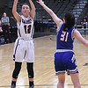 Garber's Ashlan Light shoots over Waukomis' Mariann Payden during the championship game of the 96th Skeltur Conference Basketball Tournament Saturday, 25, 2020 at the Stride Bank Center. (Billy Hefton / Enid News & Eagle)