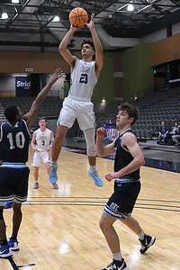 Enid's Carter Owens elevates for a shot against OKC Storm Tuesday, January 14, 2020 at the Stride Bank Center. (Billy Hefton / Enid News & Eagle)