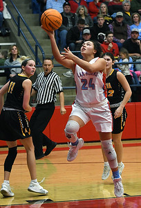 Chisholm's Tatum Long scores a basket against Alva during the semi-finals of the Wheat Capital Classic Basketball Tournament Friday, January 10, 2020 at Chisholm High School. (Billy Hefton / Enid Nwes & Eagle)