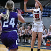 Cherokee's Gracie Leslie shoots over Burlington's Karlie Heatherman during the semi-finals of the Cherokee Strip Conference Tournament Friday, January 24, 2020 at the Chisholm Trail Expo Center. (Billy Hefton / Enid News & Eagle)