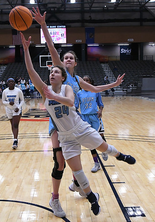 Enid's Claire Dodds puts up a shot against OKC Storm's Haylee Webber Tuesday, January 14, 2020 at the Stride Bank Center. (Billy Hefton / Enid News & Eagle)