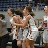 The Cherokee bench reacts to the winning basket against Burlington during the semi-finals of the Cherokee Strip Conference Tournament Friday, January 24, 2020 at the Chisholm Trail Expo Center. (Billy Hefton / Enid News & Eagle)