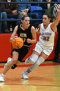 Chisholm's Tatum Sefcik pressures Alva's Payton Jones during the semi-finals of the Wheat Capital Classic Basketball Tournament Friday, January 10, 2020 at Chisholm High School. (Billy Hefton / Enid Nwes & Eagle)