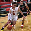 NOC Enid's Zach McDermott drives pass Mid American Christian University's Payton Gordon Monday, January 6, 2020 at the NOC Mabee Center. (Billy Hefton / Enid News & Eagle)