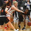 NOC Enid's Hollie Wood pressures Connors State's Lauren Wright during the final seconds Thursday, January 16, 2020 at the NOC Mabee Center. (Billy Hefton / Enid News & Eagle)