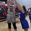 NOC Enid's Lauren Wade shoots over Murray State's Madelyn Hankins at the NOC Mabee Center Thursday, January 23, 2020. (Billy Hefton / Enid News & Eagle)