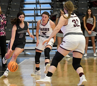 Pioneer's Crystal De La Torre dribbles upcourt against pressure from Garber's Ashlan Light and Tori Johnson during the opening round of the 97th Skeltur Conference Basketball Tournament Thursday, January 21, 2021 at the Stride Bank Center. (Billy Hefton / Endi News & Eagle)