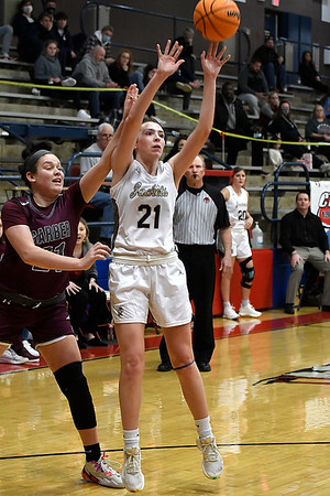 Kingfisher's Allison Green gets away from Garber's Sierra Martin for a shot during the semi finals of the Wheat Capital Tournament Friday, January 8, 2021 at Chisholm High School. (Billy Hefton / Enid News & Eagle)