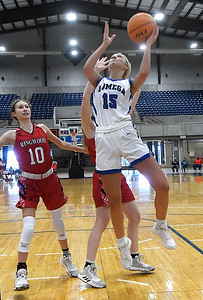 Lomega's Ady Wilson puts up a shot in the lane against Ringwood during a semi-final gmae of the Cherokee Strip Conference Tournament Friday, January 22, 2021 at the Chisholm Trail Expo Center. (Billy Hefton / Enid News & Eagle)