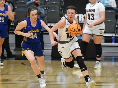 Garber's Ashlan Light heads upcourt against Drummond's Brinley Buchanan during the championship game of the 97th Skeltur Conference Basketball Tournament Saturday, January 23, 2021 at the Stride Bank Center. (Billy Hefton / Enid News & Eagle)