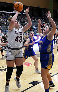 Garber's Kamilah Gay shoots over Drummond's Hannah Appleton during the championship game of the 97th Skeltur Conference Basketball Tournament Saturday, January 23, 2021 at the Stride Bank Center. (Billy Hefton / Enid News & Eagle)