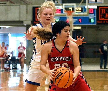 Lomega's SAbby Swart pressures Ringwood's Ana Resandiz during a semi-final gmae of the Cherokee Strip Conference Tournament Friday, January 22, 2021 at the Chisholm Trail Expo Center. (Billy Hefton / Enid News & Eagle)