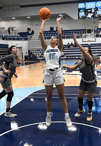 Enid's Lanie Goins puts up a shot against OKC Storm at Enid High School Tuesday, January 19, 2021. (Billy Hefton / Endi News & Eagle)