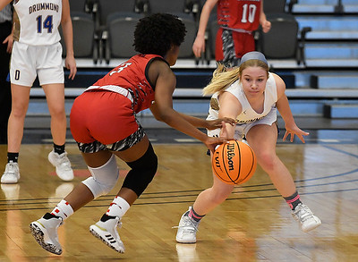 Drummond's Kate Spring tries to steal the ball from Dover's Hope Caldwell during the opening round of the 97th Skeltur Conference Basketball Tournament Thursday, January 21, 2021 at the Stride Bank Center. (Billy Hefton / Endi News & Eagle)