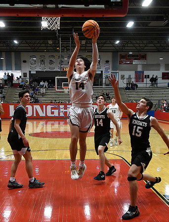 Kingfisher's Bijan Cortes scores a basket against OKC Knights during the championship game of the Wheat Capital Tournament Saturday, January 9, 2021 at Chisholm High School. (Billy Hefton / Endi News & Eagle)