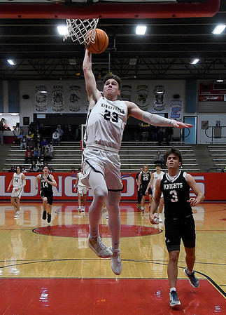 Kingfisher's Matthew Stone goes up for a fastbreak basket against OKC Knights during the championship game of the Wheat Capital Tournament Saturday, January 9, 2021 at Chisholm High School. (Billy Hefton / Endi News & Eagle)