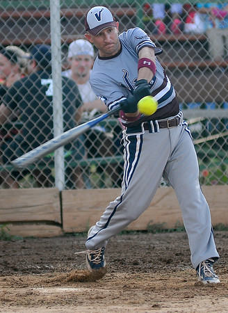 Vance AFB short stop, Phillip Bonadonna, connects for a double during a game at Kellett Ballpark Tuesday, July 30, 2013. Vance will play this weekend in the Class B State Softball Tournament at Kellett Ballpark. (Staff Photo by BONNIE VCULEK)