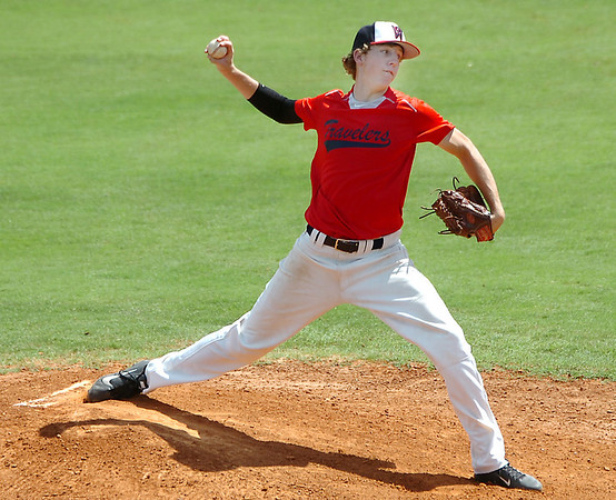 Woodward's Dalton Shalberg delivers a pitch against the Enid Minors Thursday during the opening round of the Connie Mack State Tournament at David Allen Memorial Ballpark. (Staff Photo by BILLY HEFTON)