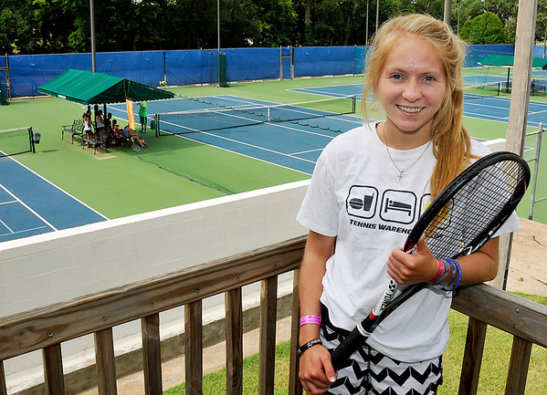 Gabrielle Dick at the Oakwood Country Club tennis courts. (Staff Photo by BILLY HEFTON)