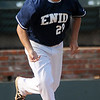 Enid Minors' Bates Enmeier sprints to first after connecting for a RBI single against the Oklahoma City Shockers at David Allen Memorial Ballpark Monday, July 1, 2013. (Staff Photo by BONNIE VCULEK)