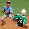 Chisholm's Logan McKee tags Leedey's Brayden Miller out at second during the Red Dirt State Tournament at David Allen Memorial Ballpark Saturday, July 6, 2013. (Staff Photo by BONNIE VCULEK)