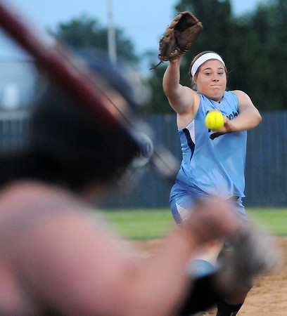 Enid Pacers' Ally Lewis pitches to Fairview catcher, Rowdi Eyler, at Pacer Field Monday, July 1, 2013. (Staff Photo by BONNIE VCULEK)