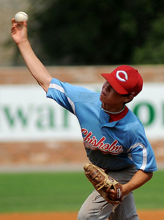 Chisholm's Mason McKee pitches during the Red Dirt State Tournament at David Allen Memorial Ballpark Saturday, July 6, 2013. (Staff Photo by BONNIE VCULEK)