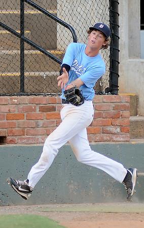 OKC Drillers' Jett Swiggart catches a foul ball off the bat of Enid Majors' Bradley Kinsey at David Allen Memorial Ballpark Saturday, July 13, 2013. (Staff Photo by BONNIE VCULEK)