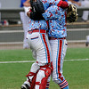 Braden Williams, leaps into the arms of relief pitcher, Ivan Ulloa, following the final out in the D-Bats 3-0 win over the Dallas Mustangs in the championship game of the Connie Mack regional tournament at David Allen Memorial Ballpark. (Staff Photo by BILLY HEFTON)