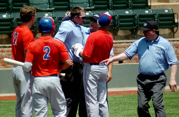 The home plate umpire receives assistance after a fouled pitch hit him during the Connie Mack Regional Baseball Tournament at David Allen Memorial Ballpark Saturday, July 26, 2014. (Staff Photo by BONNIE VCULEK)