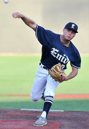 Enid Majors' Jonny Chavez delivers a pitch against the OKC Broncos during the opening round of the Connie Mack State Tournament Wednesday July 13, 2016 at David ALlen Ballpark. (Billy Hefton / Enid News & Eagle)