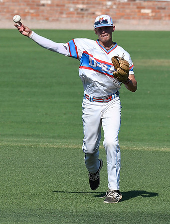 DBat Gowins' Bobby Witt, Jr. makes a throw to first against the SW SHockers Red during the Connie Mack Regional Tournament Tuesday July 18, 2017 at David Allen Memorial Ballpark. (Billy Hefton / Enid News & Eagle)