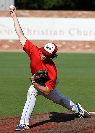 Oklahoma Expo's starting pitcher, Michael Taylor, delivers a pitch against the Albuquerque Cage Rats during an elimination game in the Connie Mack Regional Tournament Friday July 21, 2017 at David Allen Memorial Ballpark. (Billy Hefton / Enid News & Eagle)