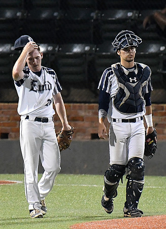 Enid Majors' Matt Hopkins and catcher, Logan Rutledge, during a time out against the Northern Colorado Roughnecks during the Connie Mack Regional Tournament Tuesday July 18, 2017 at David Allen Memorial Ballpark. (Billy Hefton / Enid News & Eagle)