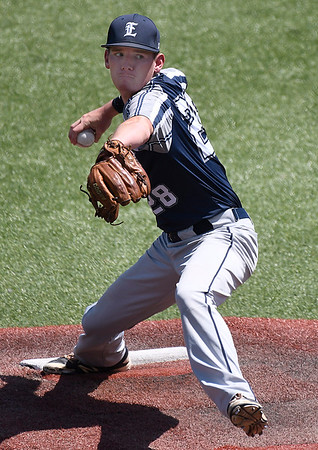 Enid Major's Matt Hopkins delivers a pitch against the OKC Broncos during an elimination game in the Connie Mack state tournament Thursday July 13, 2017 at David Allen Memorial Ballpark. (Billy Hefton / Enid News & Eagle)