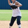 Enid's Victoria Jackson makes a throw during the first day of practice July 16, 2018 at Pacer Field. (Billy Hefton / Enid News & Eagle)