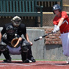 Woodward's Ty Goss connects on a single against OKC Sandlot Friday July 20, 2018 during an elimination game in the Connie Mack South Plains Regional Tournament. (Billy Hefton / Enid News & Eagle)