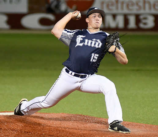Enid Majors' Braden Pietce delivers a pitch against Woodward during the Connie Mack state tournament Friday, July 12, 2019 at David Allen Memorial Ballpark. (Billy Hefton / Enid News & Eagle)