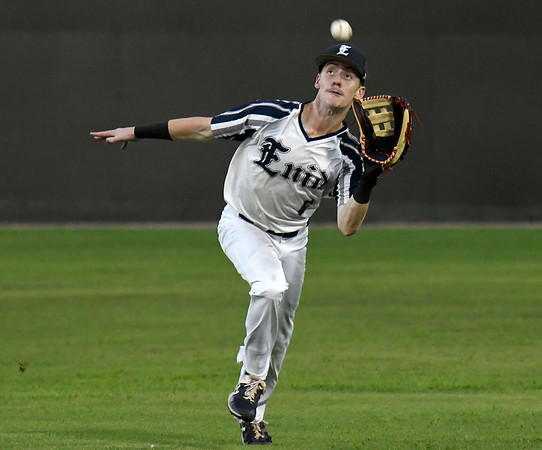 Enid Majors' Ambren Voitek makes a running catch in centerfield against Woodward Monday, July 8, 2019 at David Allen Memorial Ballpark. (Billy Hefton / Enid news & Eagle)