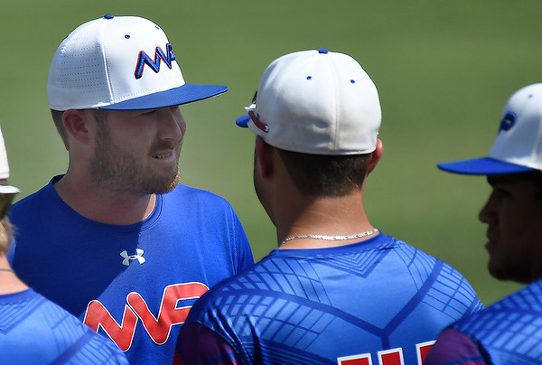 MVP head coach, Tyson Seng, talks his players prior to a game against the Oklahoma Expos during the first day of the Connie Mack state tournament Wednesday, July 10, 2019 at David Allen Memorial Ballpark. (Billy Hefton / Enid News & Eagle)